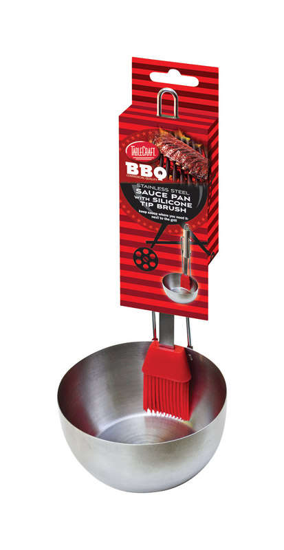 Tablecraft  BBQ  4-3/4 ft. W x 9-1/2 ft. L Red/Silver  Stainless Steel  Brush/Sauce Pan