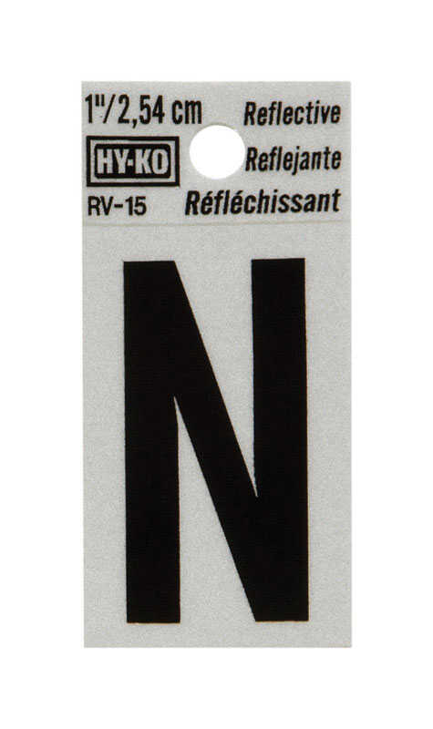 Hy-Ko  1 in. Reflective Black  Vinyl  Letter  N  Self-Adhesive  1 pc.