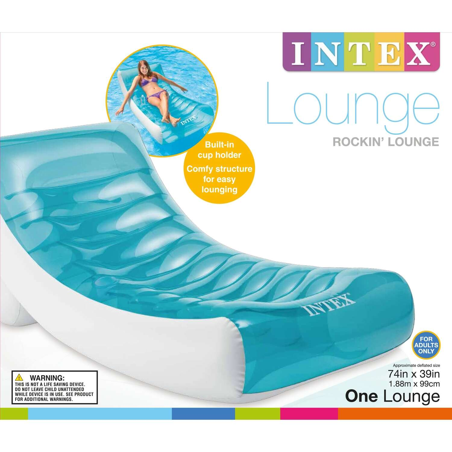 Intex  Blue/White  Plastic  Inflatable Floating Tube