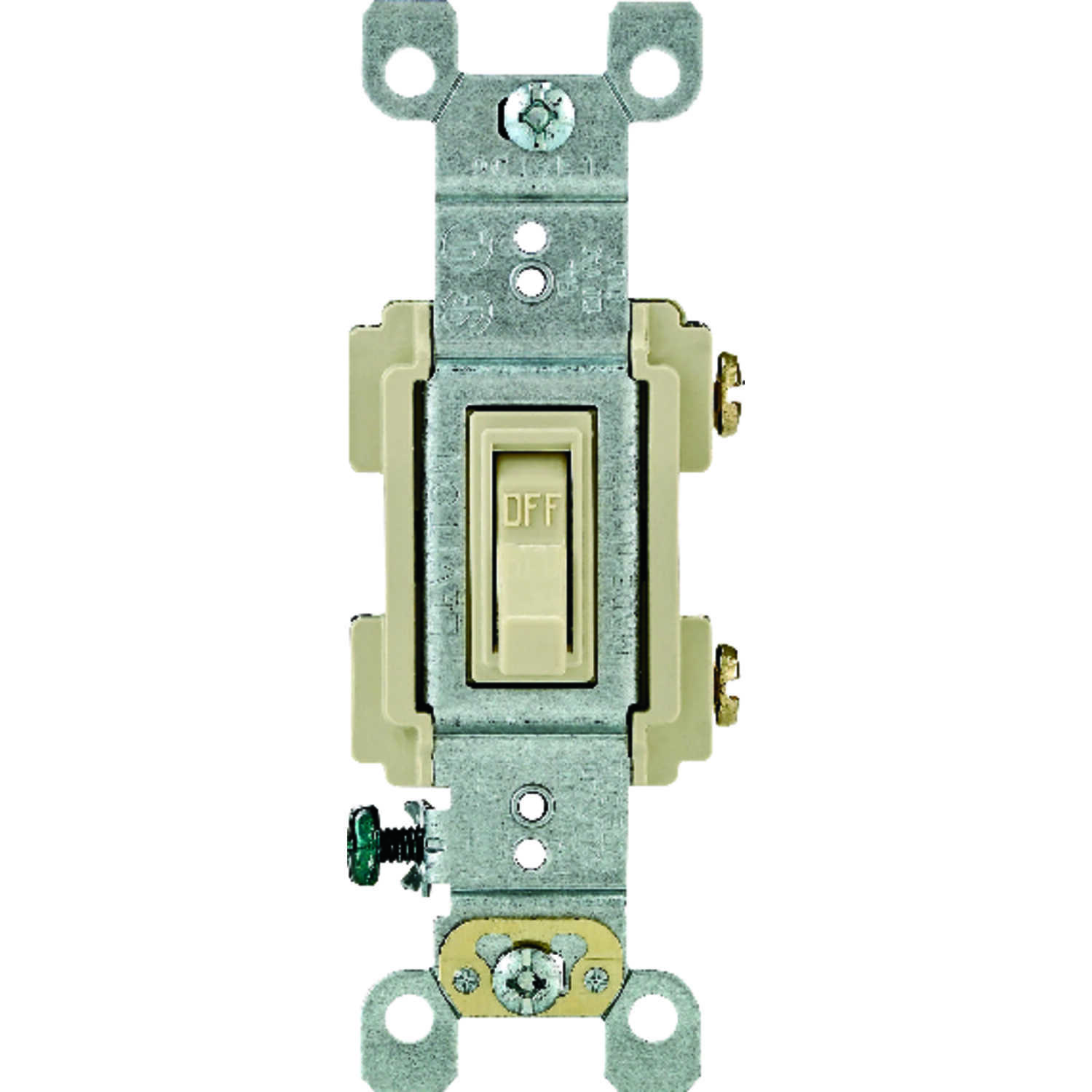 Leviton  15 amps 15 amps Toggle  Switch  Ivory  1 pk Framed