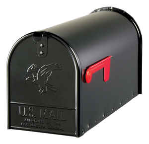 Gibraltar  Elite  Galvanized Steel  Post Mounted  Black  Mailbox  10-1/2 in. H x 8-1/2 in. W x 22-1/