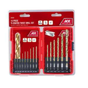 Ace  Multi-Size  Dia. x 8.625 inches  L High Speed Steel  Drill Bit Set  Round Shank  15 pc.