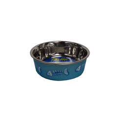 Bella  Blue  Fish Bones  Stainless Steel  1 cups Pet Bowl  For Cat