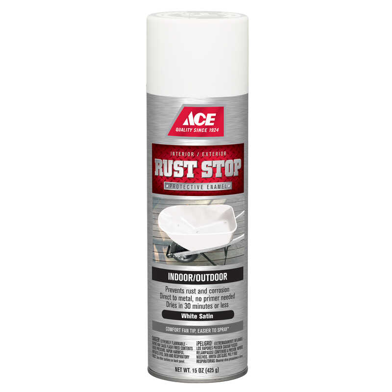 Ace  Rust Stop  Satin  White  Spray Paint  15 oz.