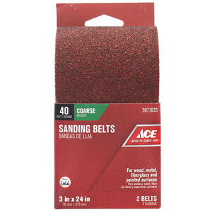 Ace  24 in. L x 3 in. W Aluminum Oxide  Sanding Belt  40 Grit Extra Coarse  2 pc.