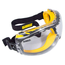 DeWalt Concealer Anti-Fog Safety Goggles Clear Lens Black/Yellow Frame 1 pc.