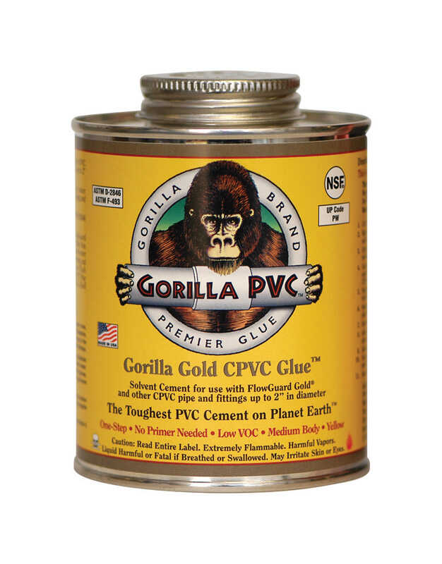 Gorilla PVC  Gold  Yellow  Primer and Cement  For CPVC 4 oz.