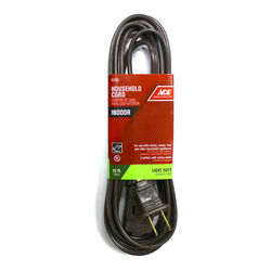 Ace  Indoor  12 ft. L Brown  Extension Cord  16/2 SPT-2