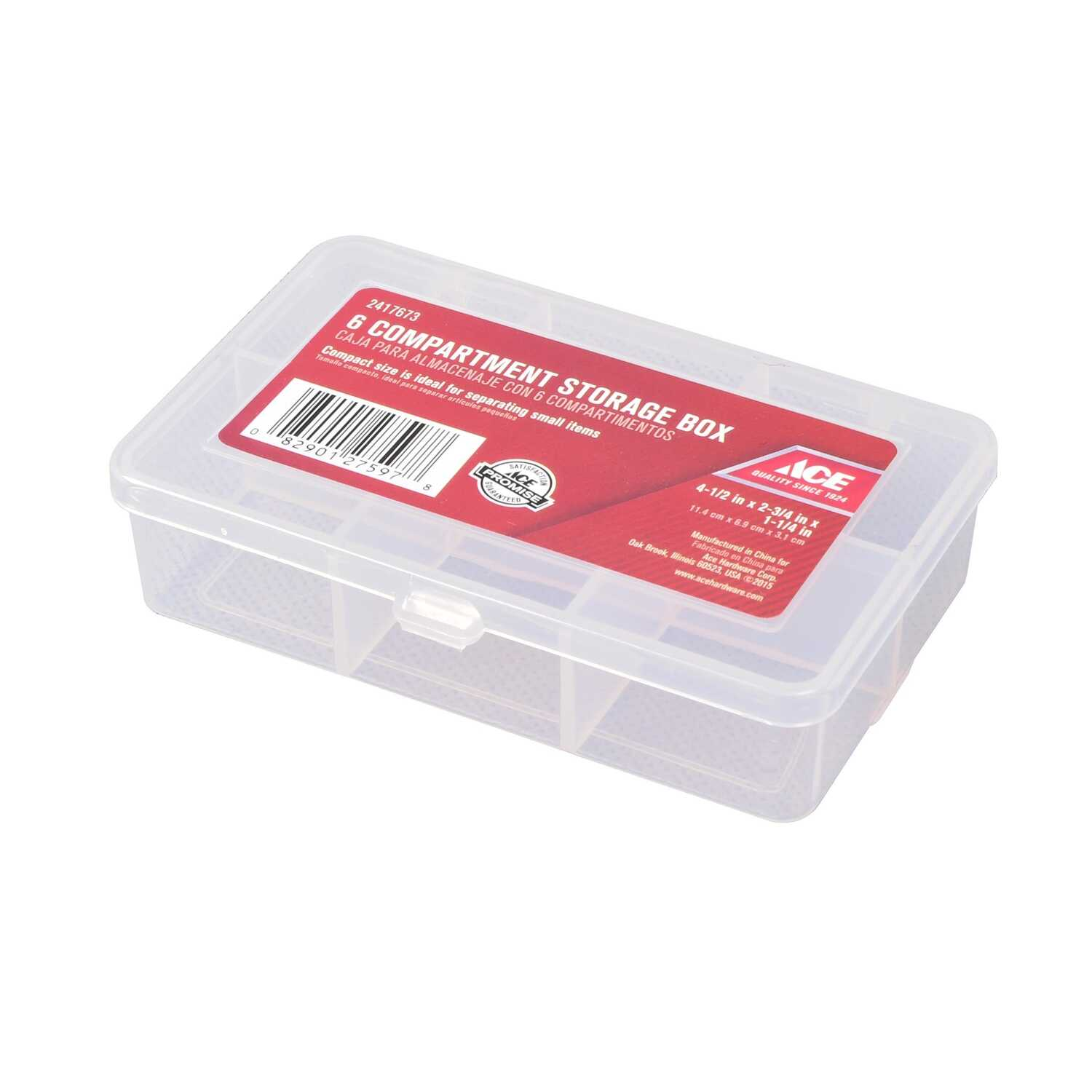 Ace  4-1/2 in. L x 2-3/4 in. W x 1-1/4 in. H Tool Storage Bin  Plastic  6 compartments Clear