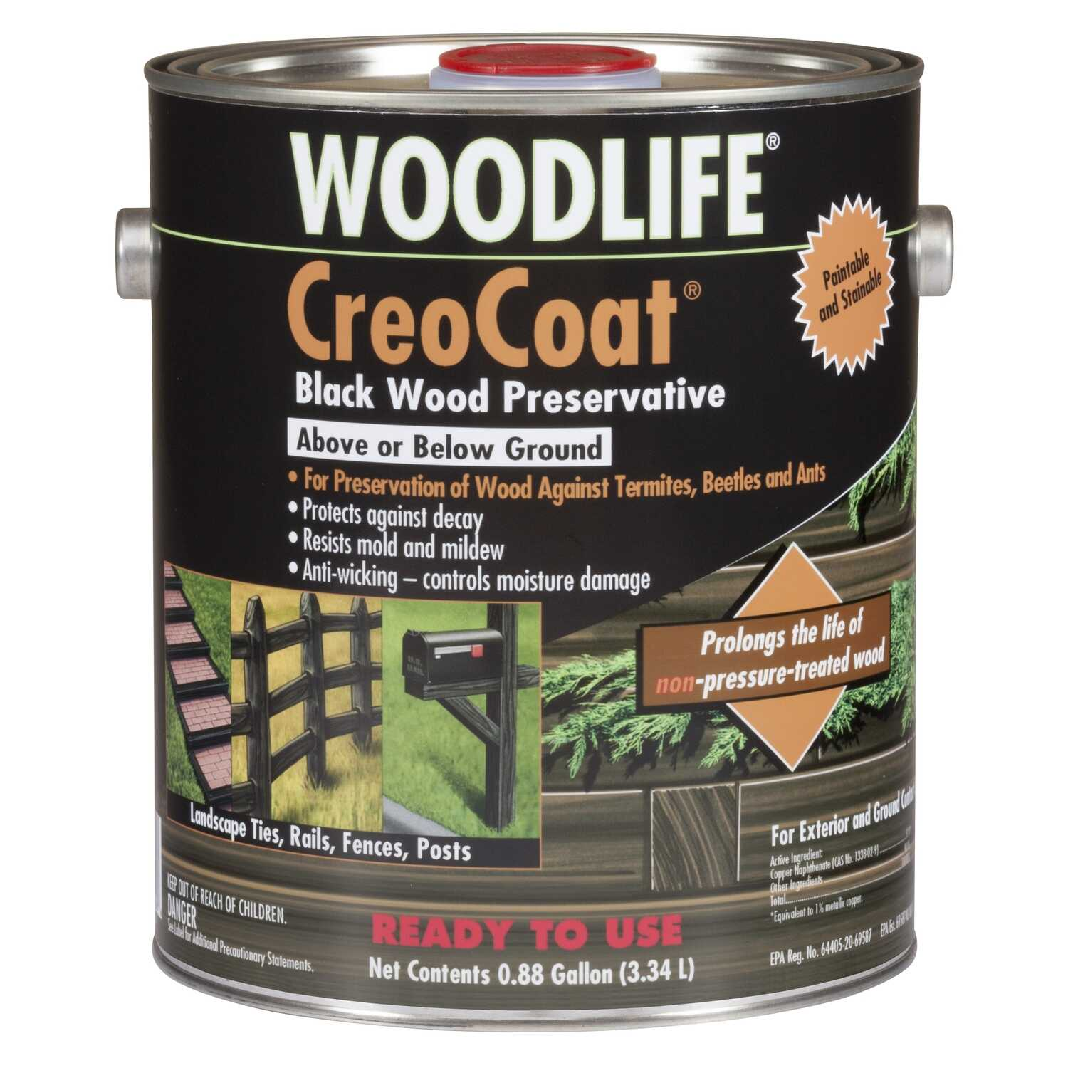 Woodlife  CreoCoat  Black  Water-Based  Wood Preservative  1 gal.