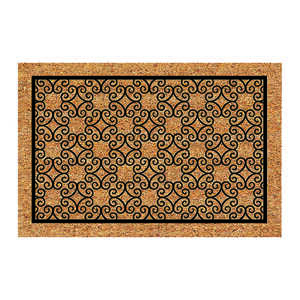 DeCoir  Piedmont  Tan/Black  Coir  Nonslip Door Mat  24 in. L x 36 in. W