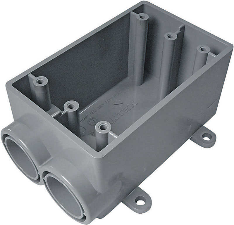 Cantex  5-3/4 in. Rectangle  PVC  1 gang Outlet Box  Gray