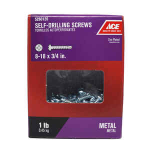Ace  8-18 Sizes  x 3/4 in. L Phillips  Pan Head Zinc-Plated  Steel  Self- Drilling Screws  1 lb.