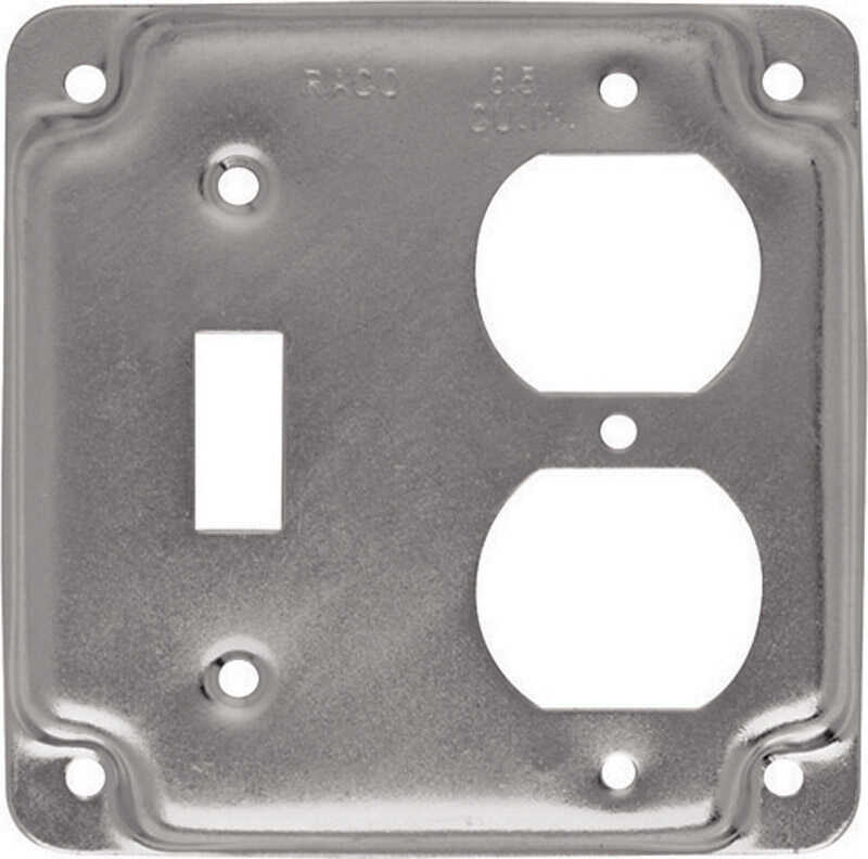 Raco  Square  Steel  2 gang Box Cover  For 1 Duplex Receptacle and 1 Toggle Switch