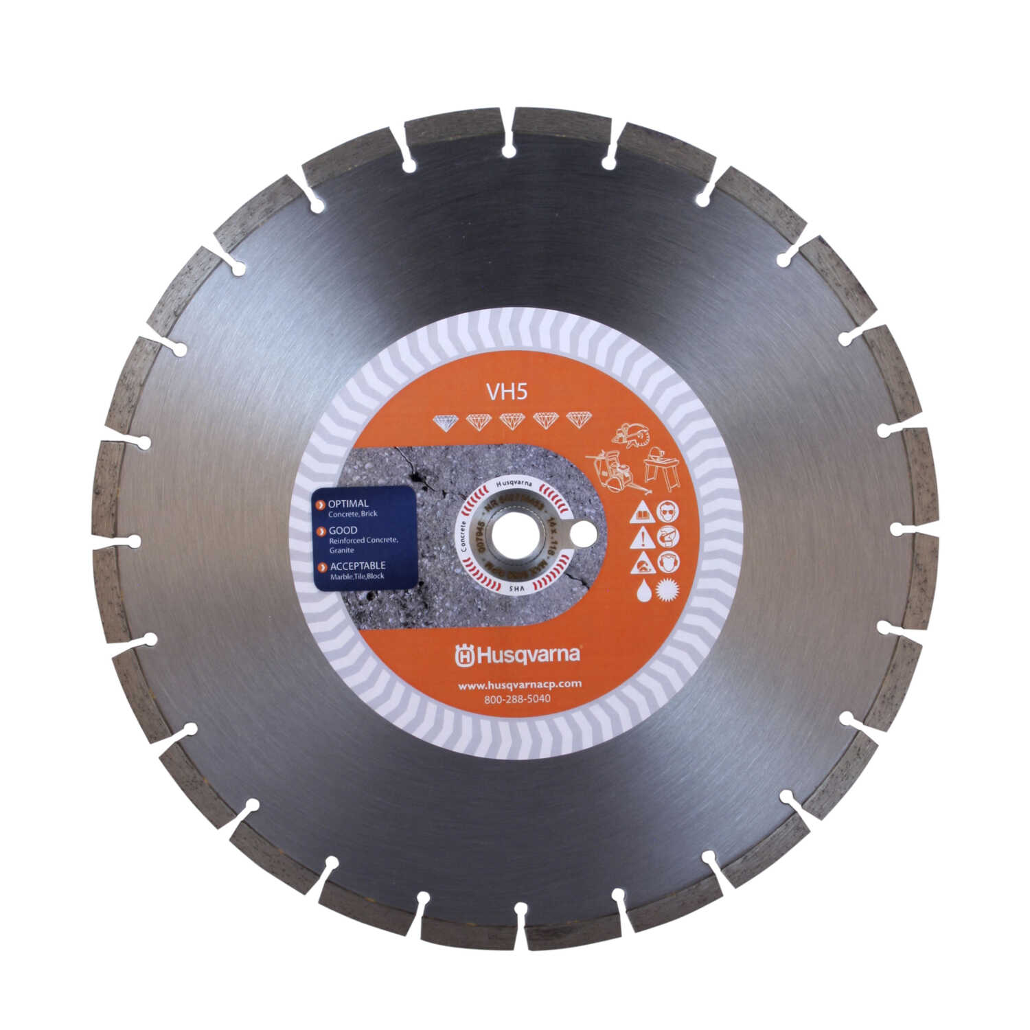 Husqvarna  14  Diamond  VH5  Segmented Rim Saw Blade  0.118 in. thick  1 in./20 mm  24 teeth 1 pk