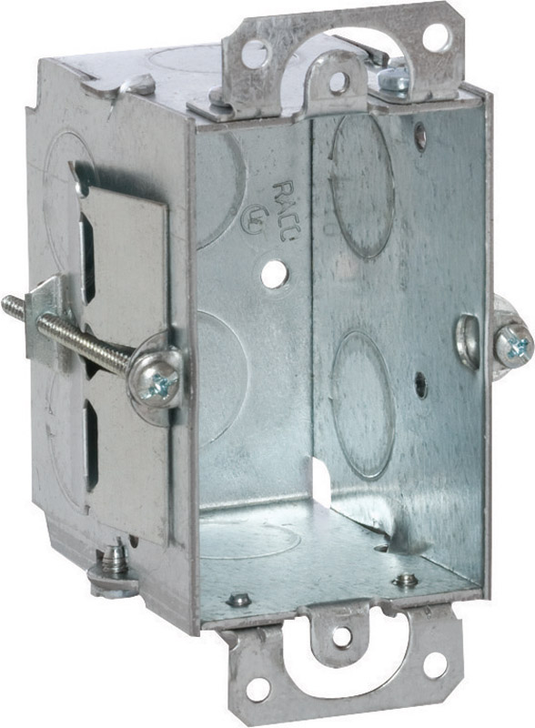 Raco  3 in. Rectangle  Switch Box  Gray  1 Gang  Steel