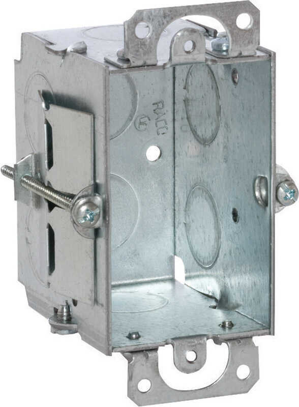 Raco  3 in. Rectangle  Steel  1 gang Switch Box  Gray