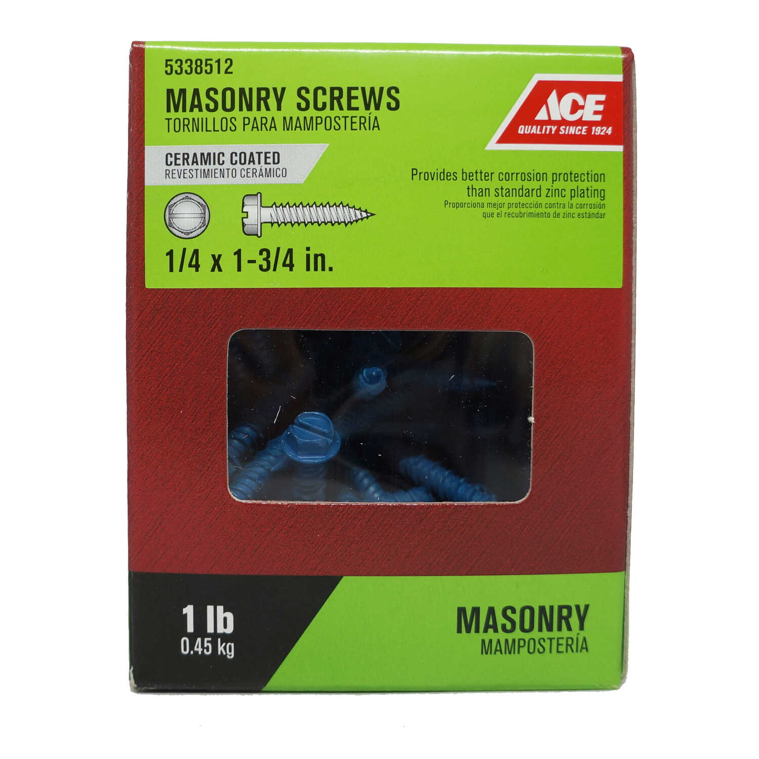 Ace  1/4 in.   x 1-3/4 in. L Slotted  Hex Washer Head Ceramic  Steel  Masonry Screws  1 lb. 65 pk