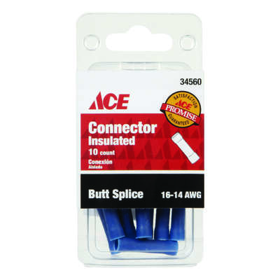 Ace Insulated Wire Butt Connector Blue 10 pk