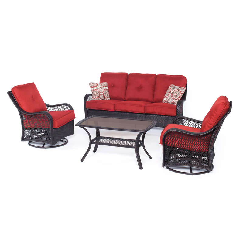 Hanover Orleans 4 pc. Brown Resin Conversation Set Red Cushions