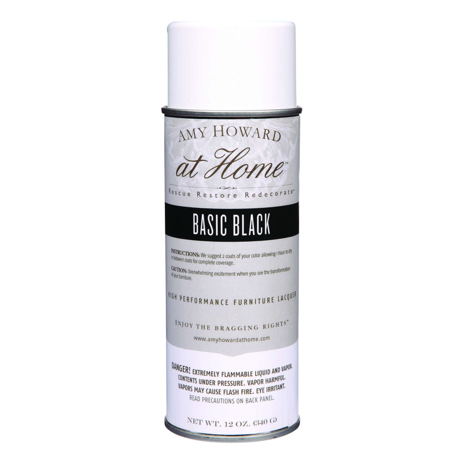 Amy Howard at Home  Gloss  High Performance Furniture Lacquer Spray  Basic Black  12 oz.