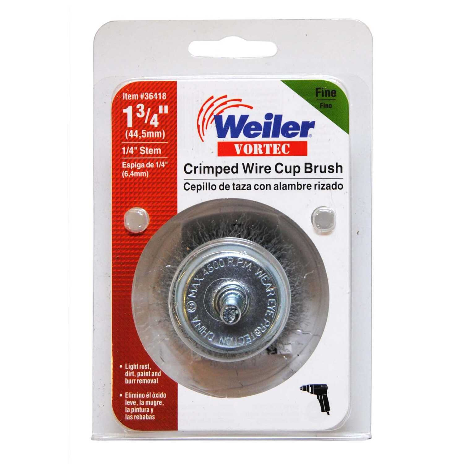 Weiler  Vortec  1/4 in.  x 1-3/4 in. Dia. Fine  Crimped Wire Cup Brush  Steel  1 pc.