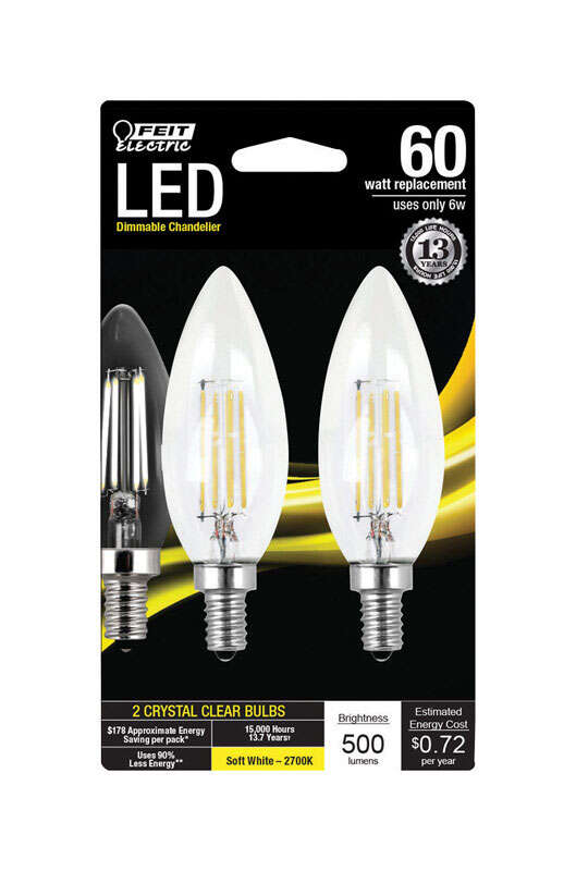 Feit Electric B10 E12 (Candelabra) LED Bulb Soft White 60 Watt Equivalence 2 pk
