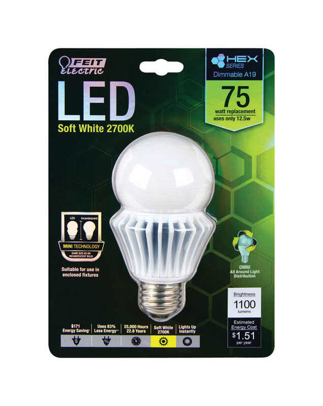 FEIT Electric  HEX SERIES  12.5 watts A19  LED Bulb  1100 lumens Soft White  75 Watt Equivalence A-L