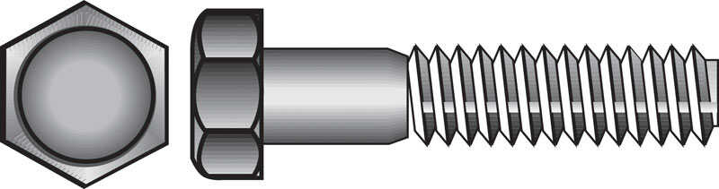 HILLMAN  3/8 in. Dia. x 1 in. L Zinc Plated  Steel  Hex Bolt  100 box