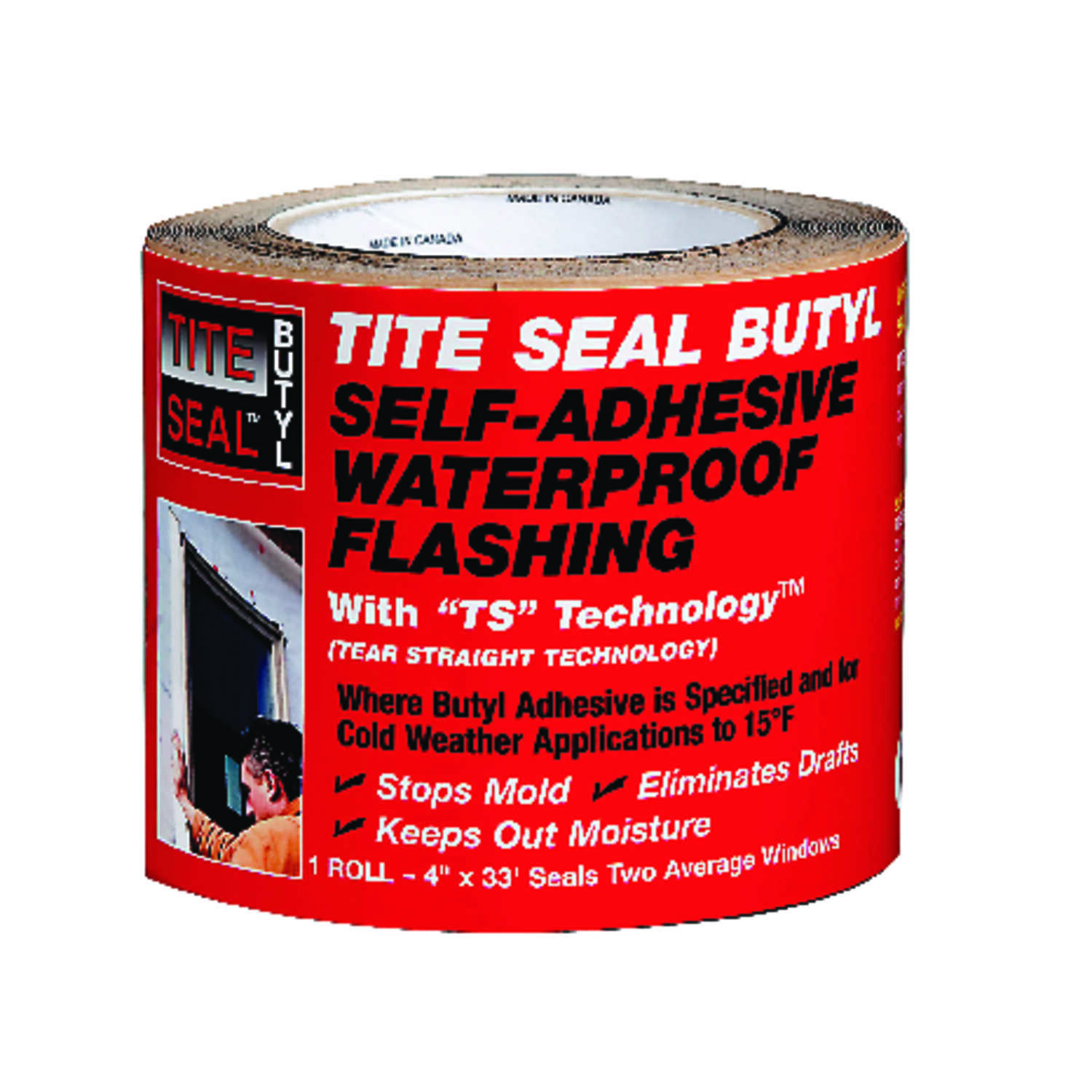 Tite Seal  4 in. W x 33 ft. L Steel  Flashing Butyl  White