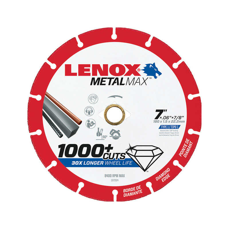 Lenox  MetalMax  7 in. Dia. x 7/8 in.  Diamond/Metal  Metal Cut-Off Blade  1 pc.