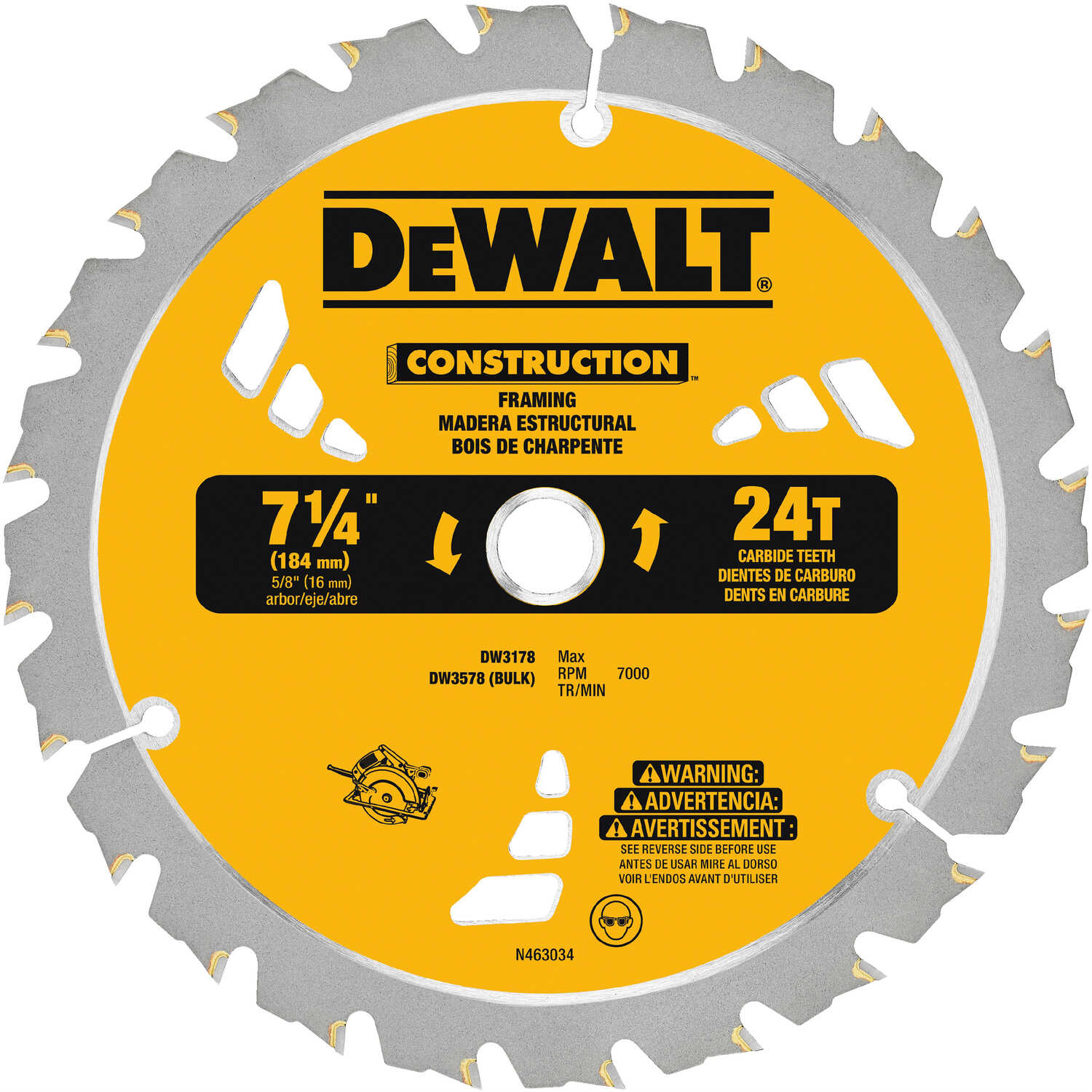 DeWalt  7-1/4 in. Dia. x 5/8 in.  Carbide Tipped  Construction  Circular Saw Blade  24 teeth 1 pk
