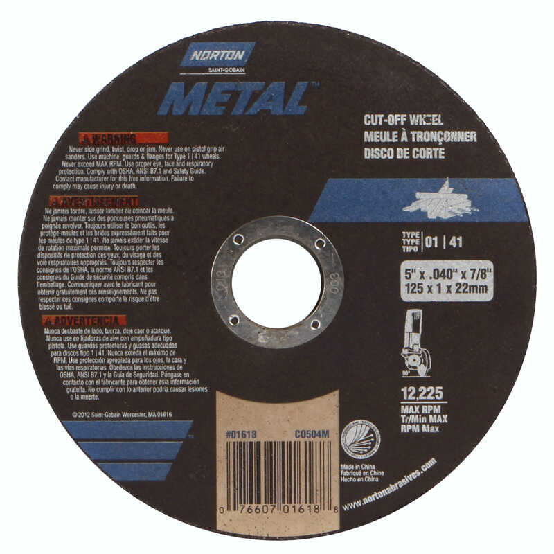 Norton  5 in. Dia. x 7/8 in.  Aluminum Oxide  Cut-Off Wheel  1 pc.