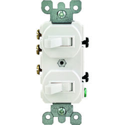 Leviton  15 amps Single Pole or 3-way  Rocker  Duplex Combination Switch  White  1 pk