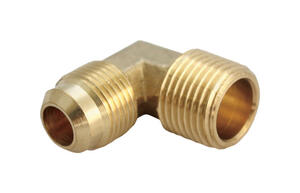 JMF  3/8 in. Flare   x 1/2 in. Dia. MPT  Yellow Brass  Elbow