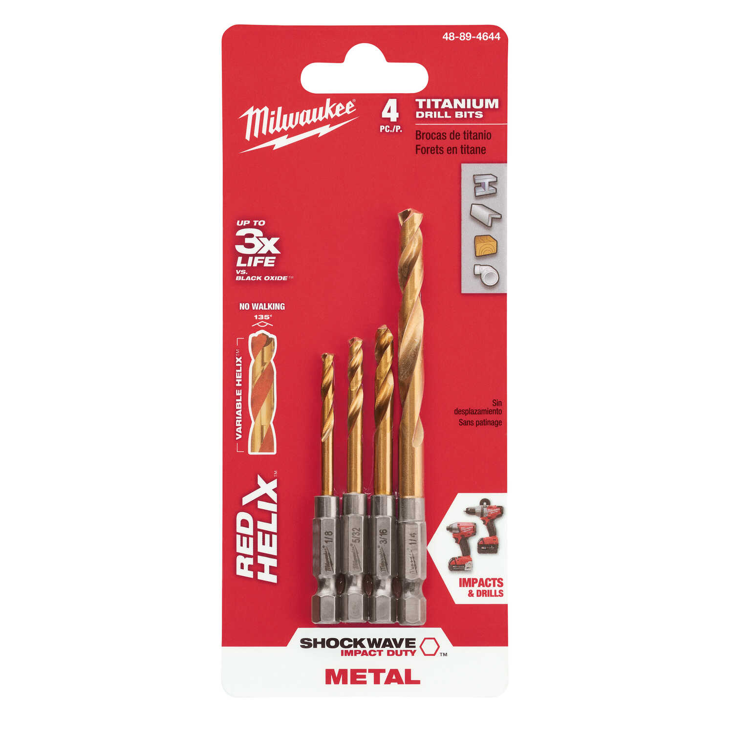 Milwaukee  SHOCKWAVE  Assorted  Dia. Titanium  RED HELIX  1/4 in. Quick-Change Hex Shank  4 pc. Impa