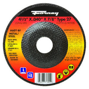 Forney  Aluminum Oxide  Metal Cut-Off Wheel  .040 in.  x 7/8 in.  1 pc. 4-1/2 in.
