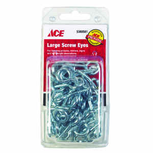 Ace  1/2 in. Dia. x 1-7/16 in. L Zinc-Plated  Steel  Screw Eye  45 lb. 50 pk