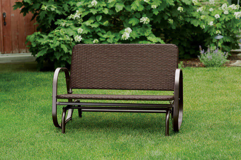 Living Accents  2-Seat  2  Brown  Steel  Glider  Brown