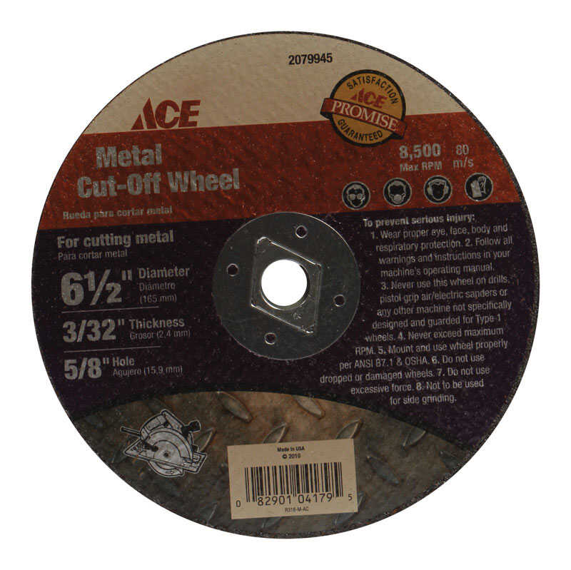 Ace  6-1/2 in. Silicon Carbide  Metal Cut-Off Blade  0.09 in. thick  x 5/8 in.  1 pc.
