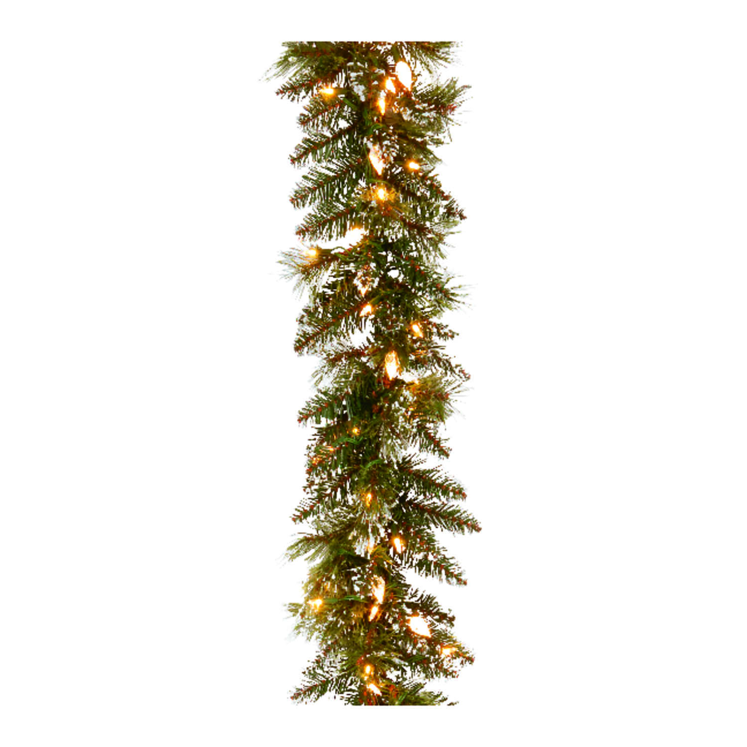 Celebrations  Prelit Glittery Bristle Pine Garland  10 in. Dia. x 9  L Soft White  Green