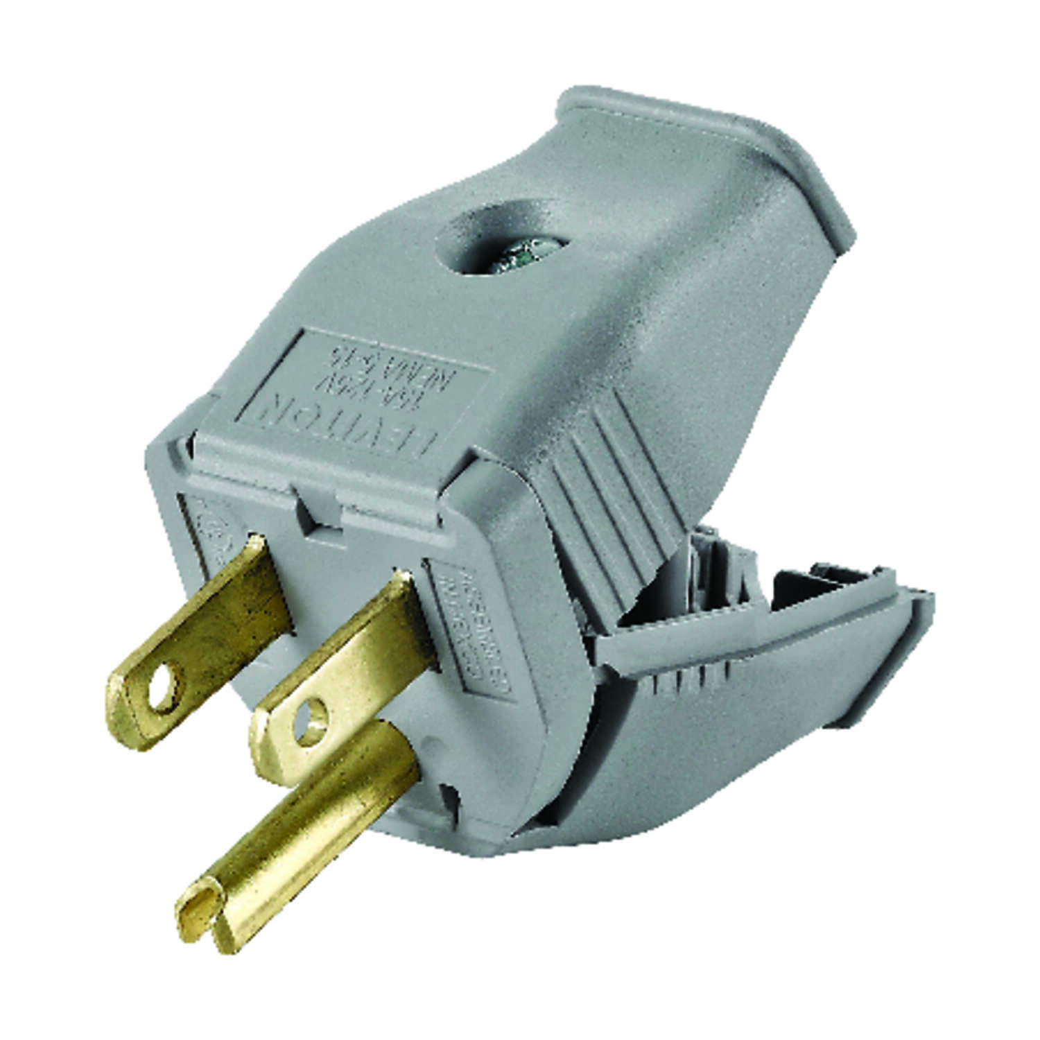 Leviton  Commercial and Residential  Thermoplastic  Straight Blade  Plug  5-15P  18-12 AWG 2 Pole 3
