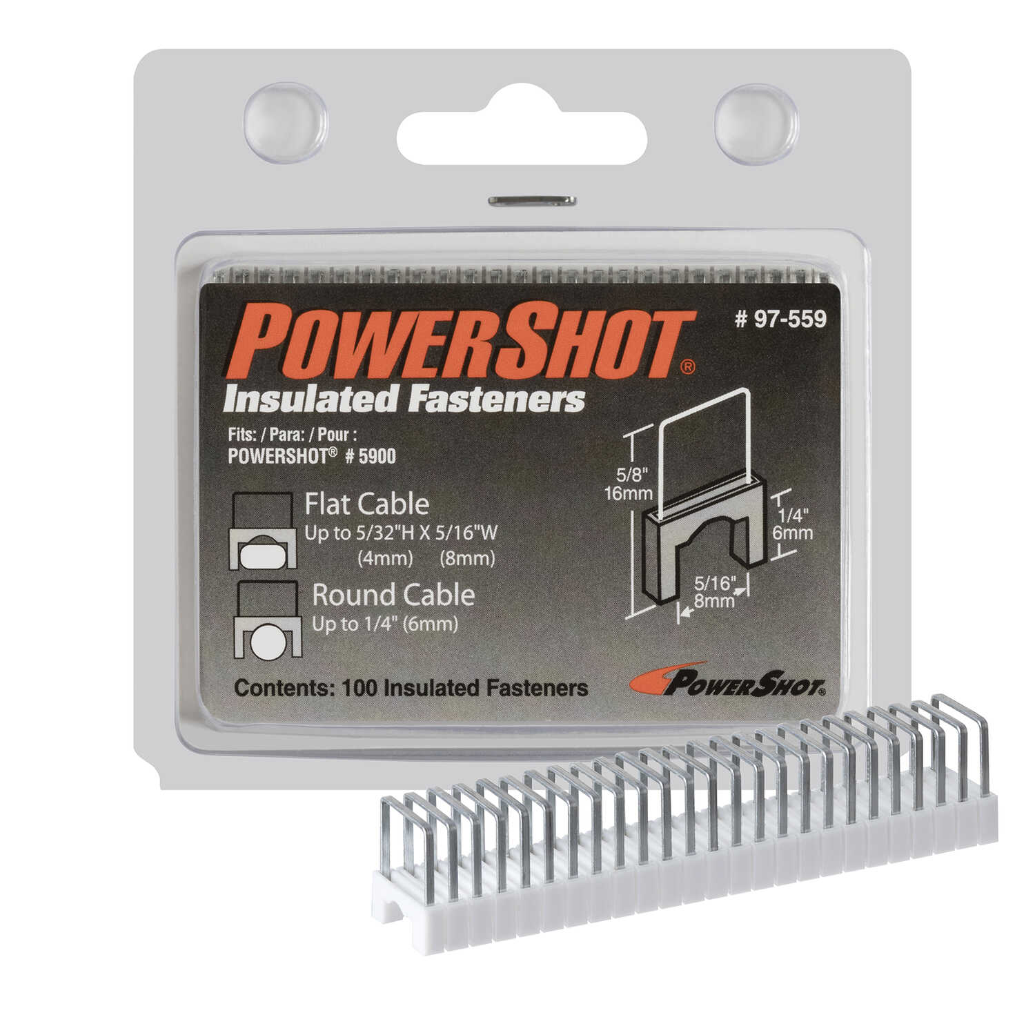 PowerShot  1/4 in. L x 7/16 in. W Metal and Plastic  Wide Crown  Insulated Staples  22 Ga. 100 pk
