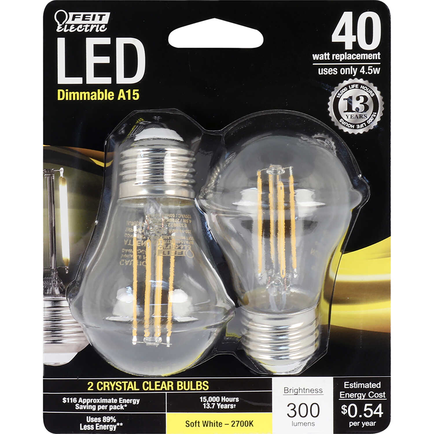 FEIT Electric  Performance  4.5 watts A15  LED Bulb  300 lumens Soft White  40 Watt Equivalence A-Li