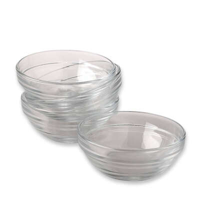 Gemco  3-1/2 in. W x 3-1/2 in. L Clear  Glass  Prep Bowl Set