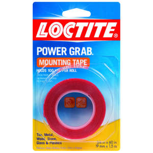 Loctite  1-1/2  W x 60  L Mounting Tape  Power Grab  Clear