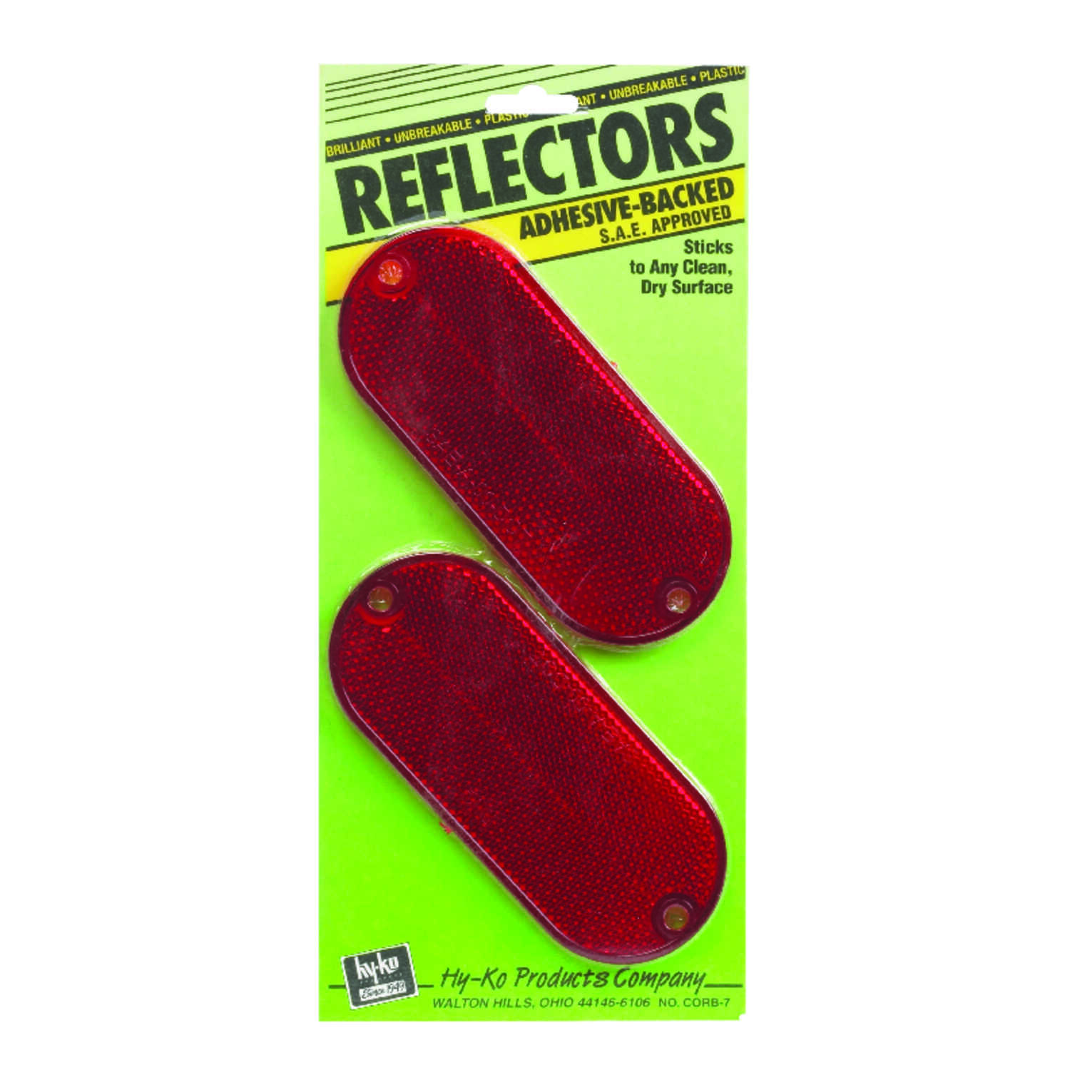 Hy-Ko  9 in. Round  Red  Reflectors  2 pk