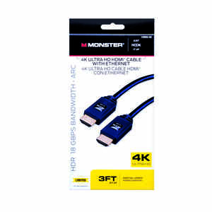 Monster Cable  Just Hook It Up  3 ft. L HDMI Cable With Ethernet  HDMI