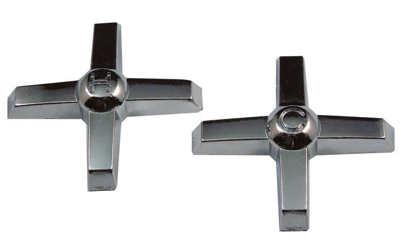 Ace  Cross Arm  Chrome  Hot and Cold  Faucet Handles