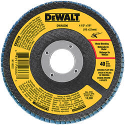DeWalt  4-1/2 in. Dia. x 7/8 in.  Zirconia  Type 29  Flap Disc  40 Grit 1 pc.